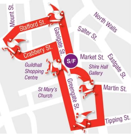 Stafford Santa Dash Route Map - The Hibbs Lupus Trust